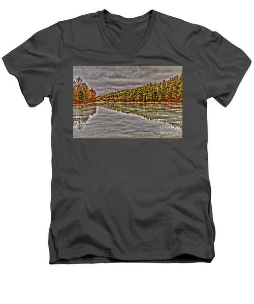 Winter At Pine Lake Men's V-Neck T-Shirt