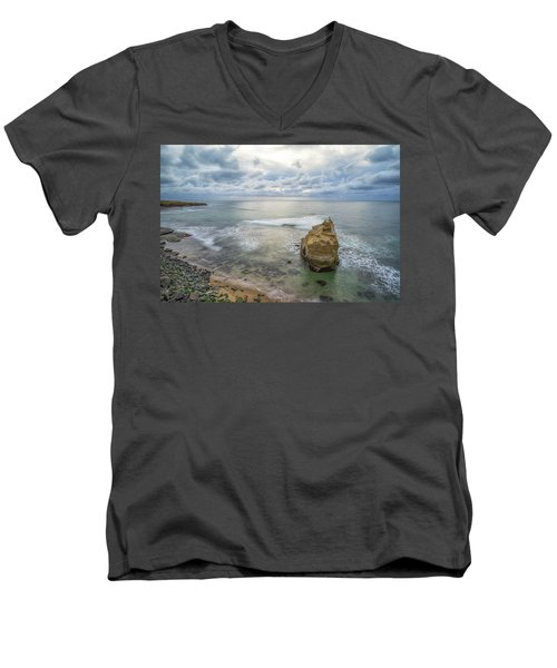 Winter At Sunset Cliffs Men's V-Neck T-Shirt by Joseph S Giacalone