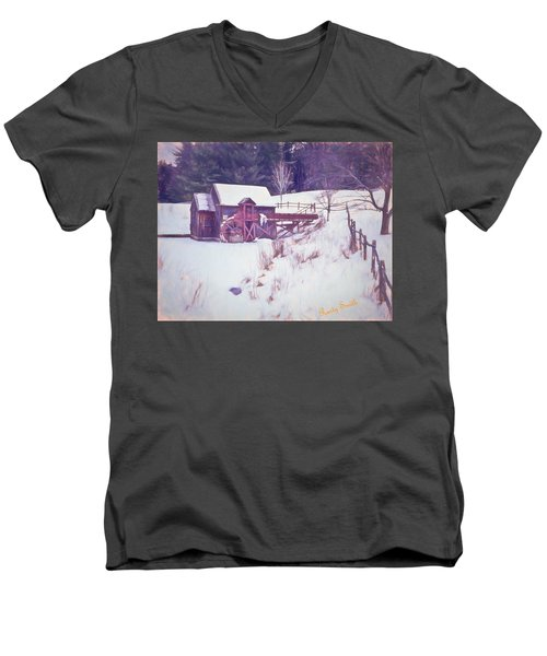 Winter At The Gristmill. Men's V-Neck T-Shirt