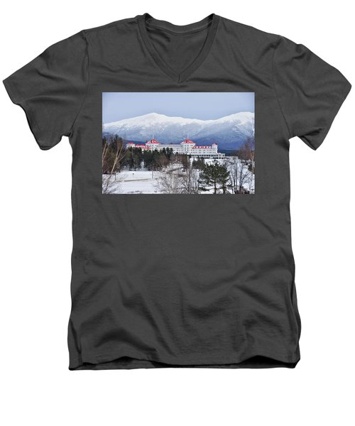 Winter At The Mt Washington Hotel Men's V-Neck T-Shirt by Tricia Marchlik
