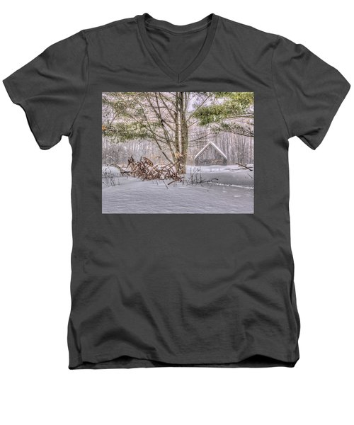 Winter At The Woods Men's V-Neck T-Shirt