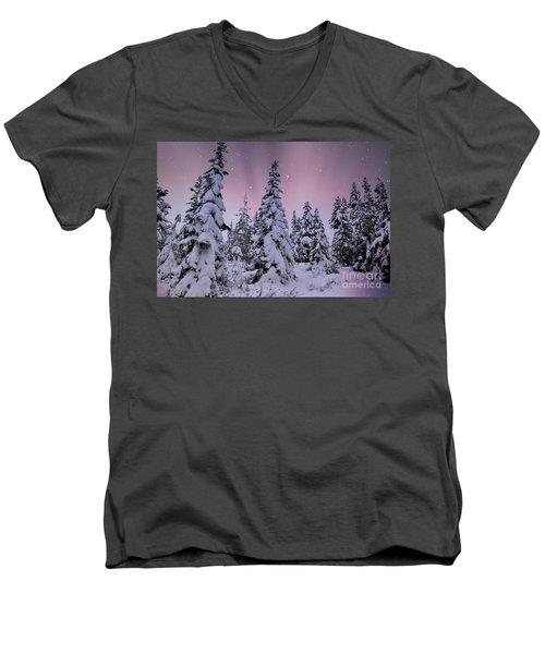 Winter Beauty Men's V-Neck T-Shirt by Sheila Ping