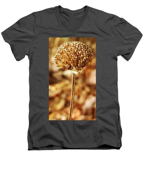 Men's V-Neck T-Shirt featuring the photograph Winter Bee Balm by Bruce Carpenter