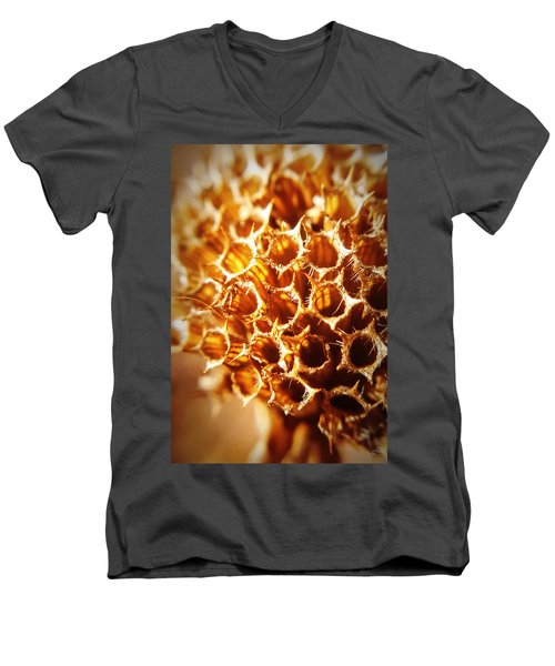 Men's V-Neck T-Shirt featuring the photograph Winter Bee Balm Macro by Bruce Carpenter