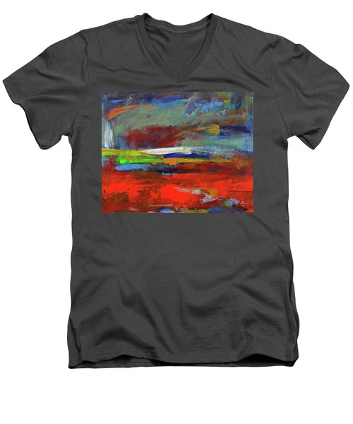 Men's V-Neck T-Shirt featuring the painting Winter Beginnings by Walter Fahmy