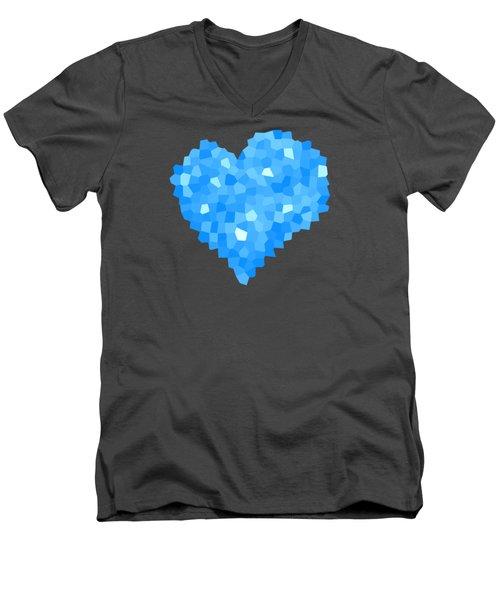 Winter Blue Crystal Heart Men's V-Neck T-Shirt