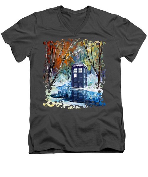 Winter Blue Phone Box Men's V-Neck T-Shirt