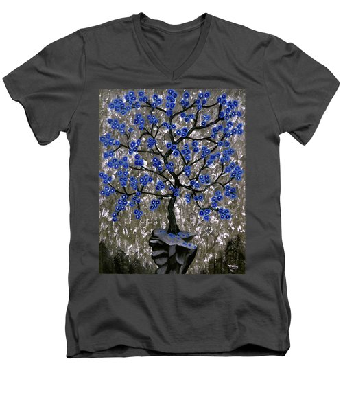 Men's V-Neck T-Shirt featuring the painting Winter Blues by Teresa Wing