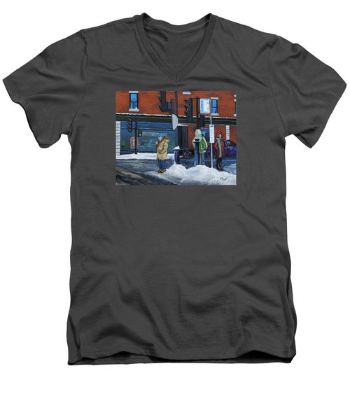 Winter Bus Stop Men's V-Neck T-Shirt by Reb Frost