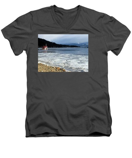 Men's V-Neck T-Shirt featuring the photograph Cottage Life In Winter by Victor K