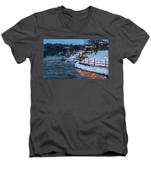 Men's V-Neck T-Shirt featuring the photograph Winter Canal Walk by Everet Regal