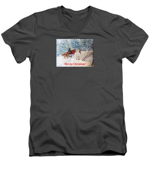 Winter Carriage In Central Park Christmas Card Men's V-Neck T-Shirt