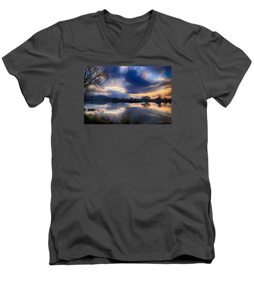 Winter Colors At Sunset Men's V-Neck T-Shirt by Lynn Hopwood