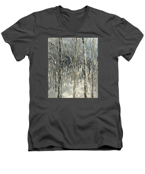 Men's V-Neck T-Shirt featuring the painting Winter Country by Tatiana Iliina