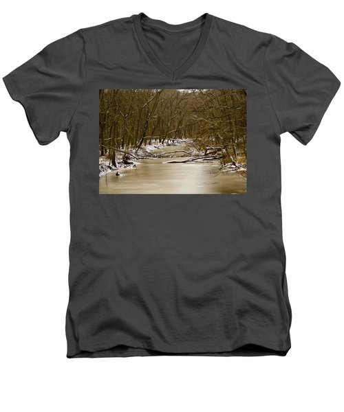 Men's V-Neck T-Shirt featuring the photograph Winter Creek by Bonnie Willis