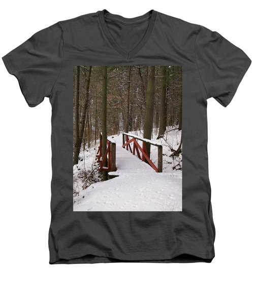 Men's V-Neck T-Shirt featuring the photograph Winter Crossing by Sara  Raber