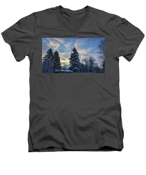 Winter Dawn Over Spruce Trees Men's V-Neck T-Shirt