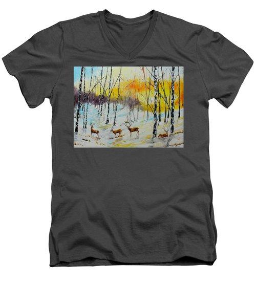Winter Deer Men's V-Neck T-Shirt