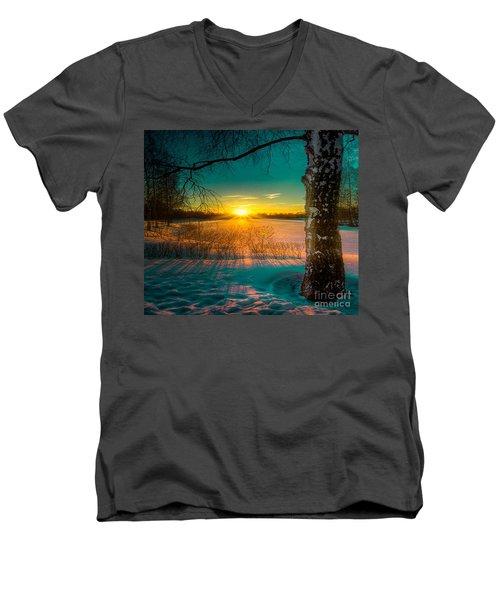 Winter Delight In British Columbia Men's V-Neck T-Shirt by Rod Jellison