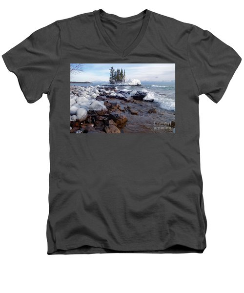 Winter Delight Men's V-Neck T-Shirt by Sandra Updyke