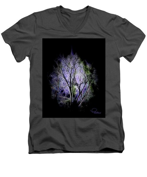 Men's V-Neck T-Shirt featuring the digital art Winter Dream by Ludwig Keck