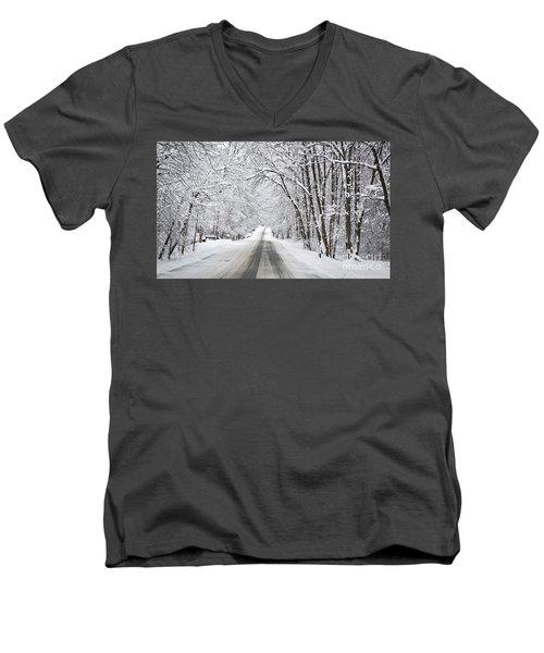 Winter Drive On Highway A Men's V-Neck T-Shirt