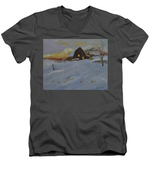 Winter Dusk On The Farm Men's V-Neck T-Shirt