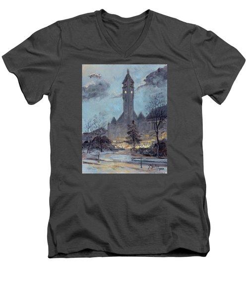 Winter Dusk - Union Station Men's V-Neck T-Shirt by Irek Szelag