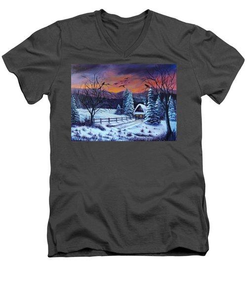 Men's V-Neck T-Shirt featuring the painting Winter Evening 2 by Bozena Zajaczkowska