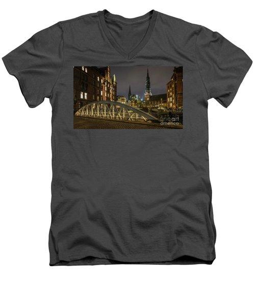 Winter Evening In Hamburg  Men's V-Neck T-Shirt