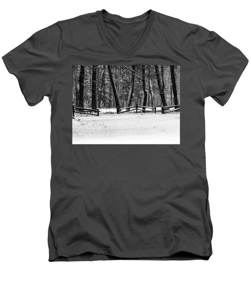 Winter Fences In Black And White  Men's V-Neck T-Shirt