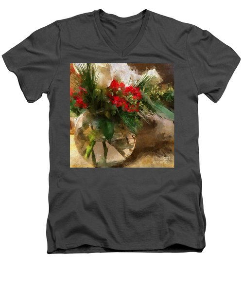 Winter Flowers In Glass Vase Men's V-Neck T-Shirt