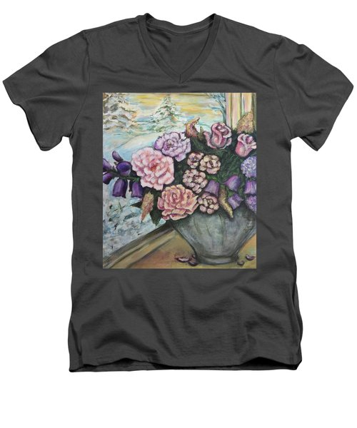 Men's V-Neck T-Shirt featuring the painting Winter Flowers by Rae Chichilnitsky