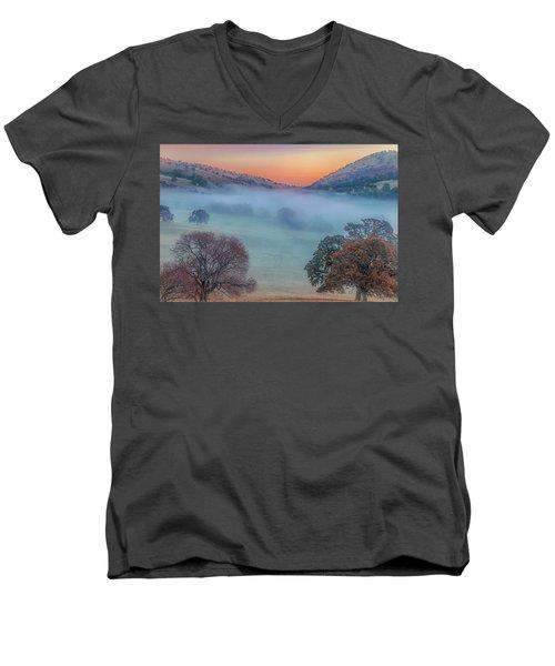 Winter Fog At Sunrise Men's V-Neck T-Shirt