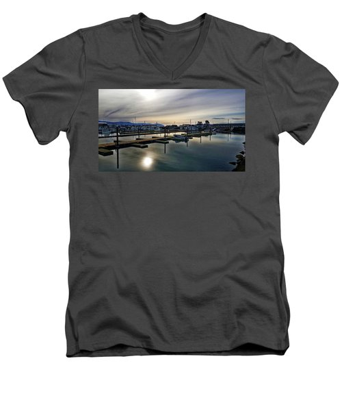 Men's V-Neck T-Shirt featuring the photograph Winter Harbor Revisited #mobilephotography by Chriss Pagani