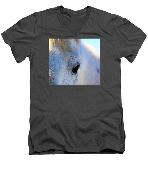 Men's V-Neck T-Shirt featuring the photograph Winter Horse by Deborah Moen