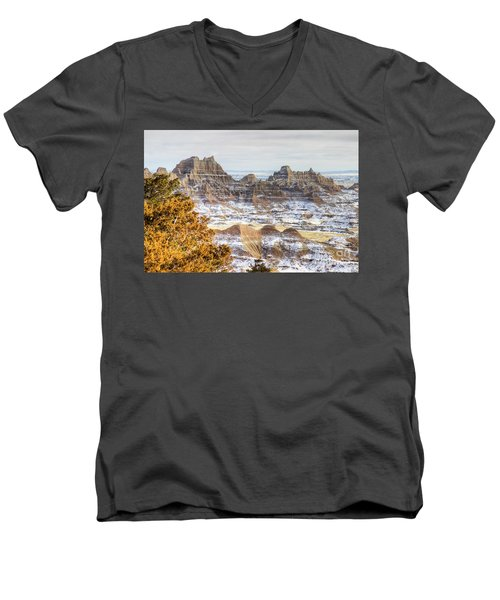 Men's V-Neck T-Shirt featuring the photograph Winter In The Badlands by Bill Gabbert