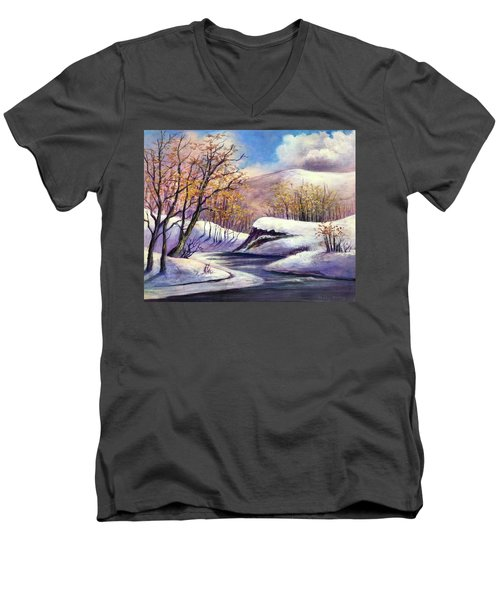 Men's V-Neck T-Shirt featuring the painting Winter In The Garden Of Eden by Randol Burns