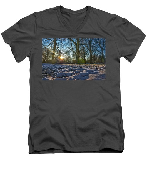 Winter In The Park Men's V-Neck T-Shirt