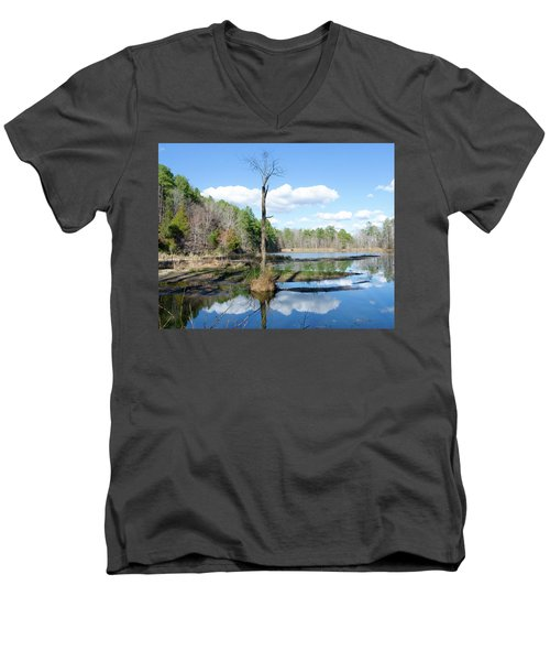 Men's V-Neck T-Shirt featuring the photograph Winter Lake View by George Randy Bass