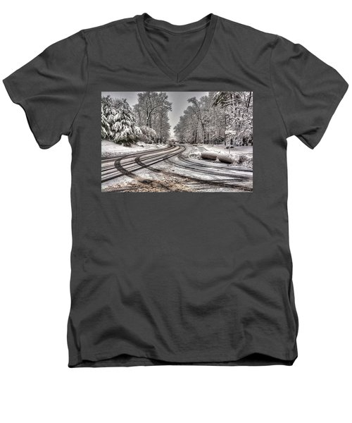 Tracks In The Snow Men's V-Neck T-Shirt by Alex Galkin