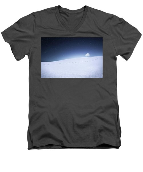 Men's V-Neck T-Shirt featuring the photograph Winter Landscape by Bess Hamiti