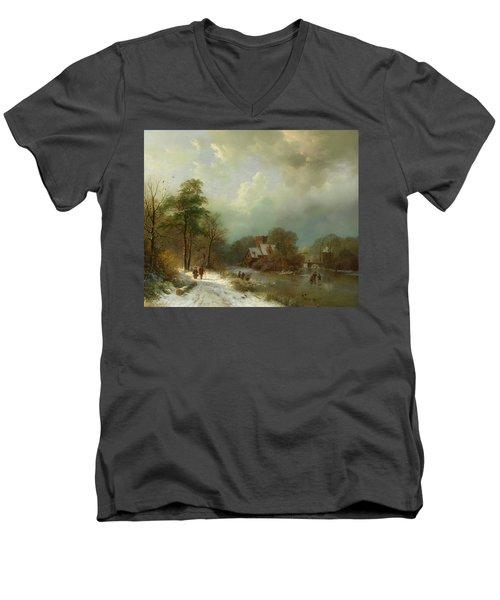 Men's V-Neck T-Shirt featuring the painting Winter Landscape - Holland by Barend Koekkoek
