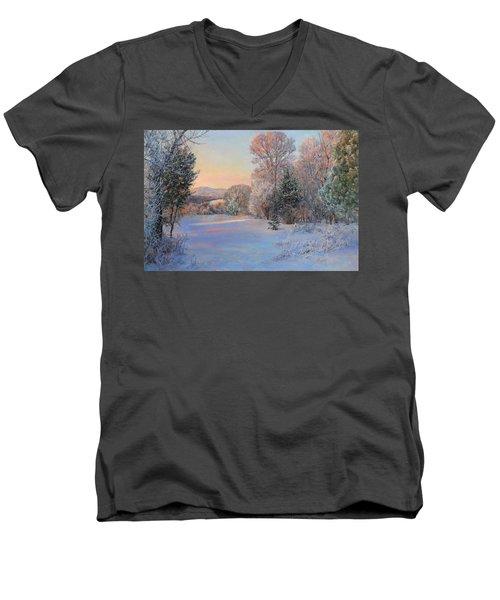 Winter Landscape In The Morning Men's V-Neck T-Shirt