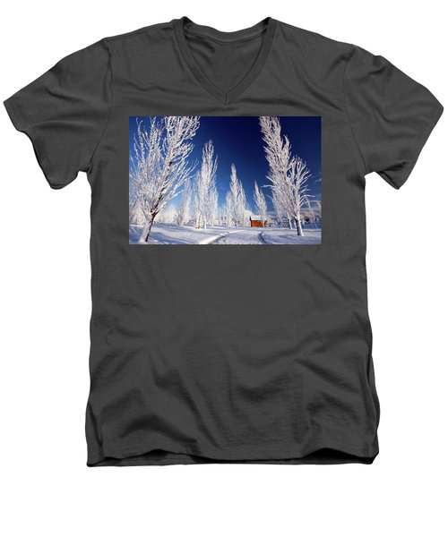 Men's V-Neck T-Shirt featuring the photograph Winter Landscape by Wesley Aston
