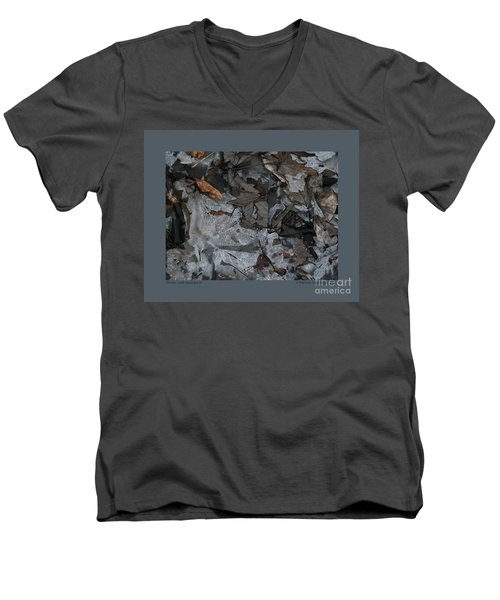 Men's V-Neck T-Shirt featuring the photograph Winter Leaf Abstract-iii by Patricia Overmoyer