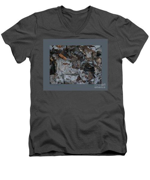 Winter Leaf Abstract-iii Men's V-Neck T-Shirt