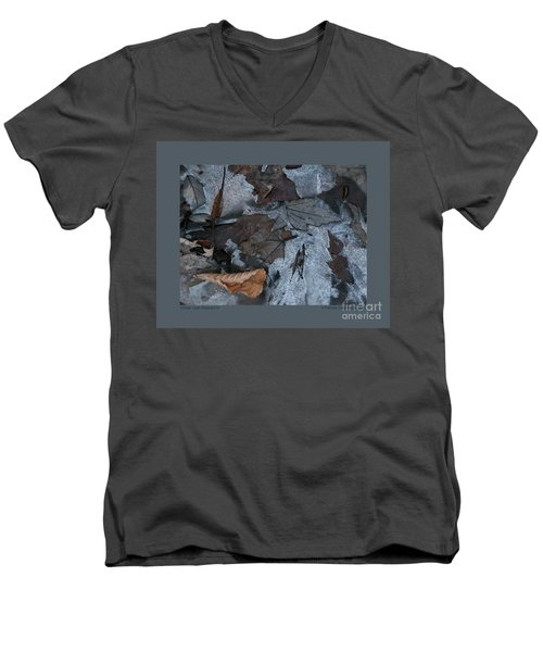 Men's V-Neck T-Shirt featuring the photograph Winter Leaf Abstract-iv by Patricia Overmoyer