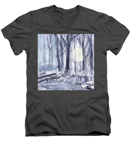 Men's V-Neck T-Shirt featuring the painting Winter Light by Robin Maria Pedrero