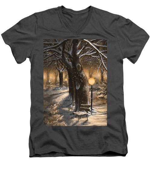 Men's V-Neck T-Shirt featuring the painting Winter Magic by Veronica Minozzi